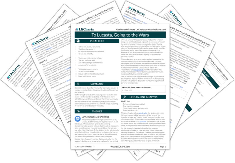 The LitCharts guide to To Lucasta, Going to the Wars